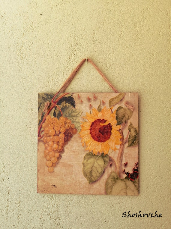 Grapes And Sunflower Wall Decor Kitchen Wooden Signs Kitchen Etsy