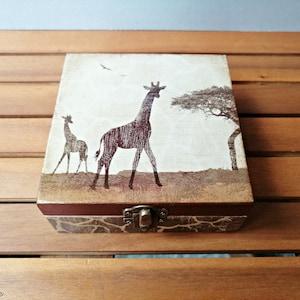 Elephant gift Wooden Elephant box Sunset African box Decoupage keepsake box Elephant Indian decor Trinket box Jewelry Storage box