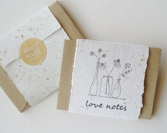 Love Notes with Envelopes, Handmade Paper Love Notes, Mini Sentiment Cards, Messages to send to loved one, Long distance relationship
