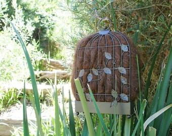Narrow Bird Nester for Wall, Bird Nesting Llama Fibre, Gift for Garden, Housewarming, Backyard Nature Gift Idea, Eco Gift for home gardener