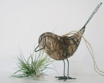 Native Bird Nester. Wire Bird with Llama Fibre Nesting Material. Bird Gift, Spring Gift, Gift for Nature