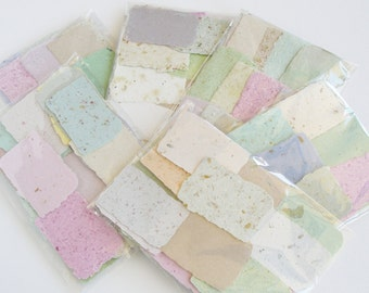 Paper for Art Project, 30 Pieces Handmade Paper, Cards, Paper, Recycled Paper Scrap Pack, Card Making Paper, Paper for Craft, Deckle Edge
