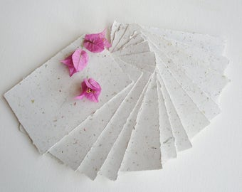"""4 x 6"""" Recycled Paper, Handmade Paper, Petals, Flowers, Typewriter Paper, Poetry Paper, Calligraphy Paper, Letter Paper, Floral Paper"""