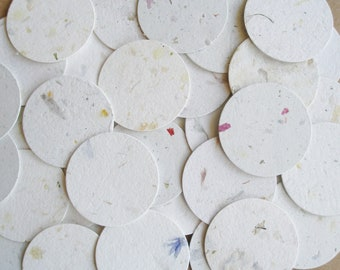 100 Handmade Paper Small Circle Cut Outs - 3.5cm - Neutral Tones, recycled