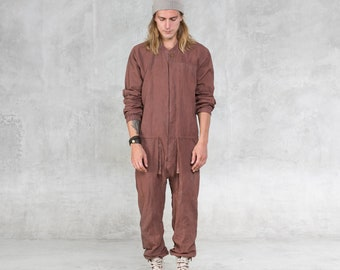 9ae10fe4f499 AETHER JUMPSUIT ONESIE - Copper Linen One Piece Unisex Romper - Handcarved  Wood Buttons - Heathen Clothing - Unique Hand Painted Coveralls