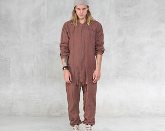 74611392420b AETHER JUMPSUIT ONESIE - Copper Linen One Piece Unisex Romper - Handcarved  Wood Buttons - Heathen Clothing - Unique Hand Painted Coveralls