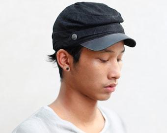 0dbc6a89a18 KEPI CAP - Forage Cap Black - Heathen Clothing - Leather Hat with Brass  Details - Unisex Festival Wear - Civil War Cap - Unisex Gift Idea