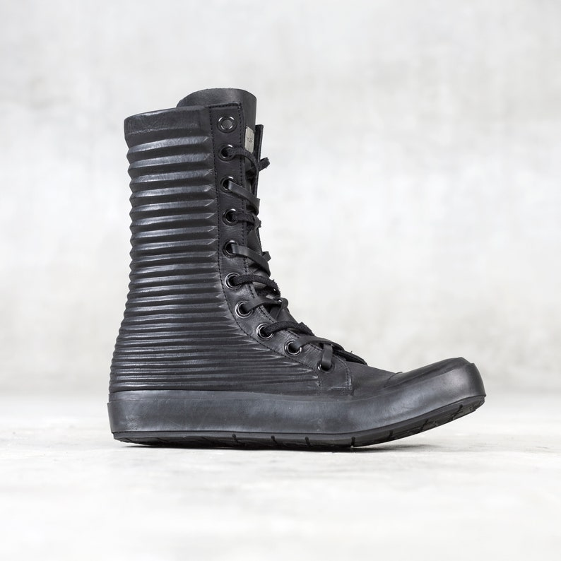 16ab0a5341480 MEN'S APOLLO BOOT - Black Leather High Top Sneaker Shoe - Heathen Clothing  - Hand Formed Leather - Military - Streetwear - Men's Boot