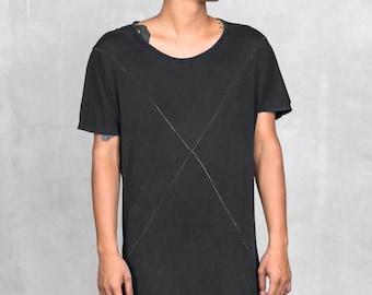 X TEE - Men's T-Shirt - Super Soft Black Supima Cotton Geometric Panels - X Contrast Thread - Heathen Clothing Menswear