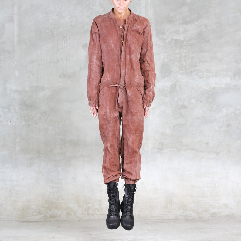 f71726ae49ad AETHER JUMPSUIT ONESIE Copper Linen One Piece Unisex Romper