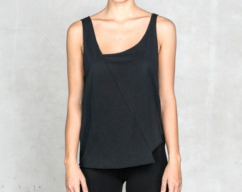 KESTREL TANK TOP - Women's Black Cotton Tank Top from Heathen Clothing - Asymmetrical Black Tank - Geometric Design