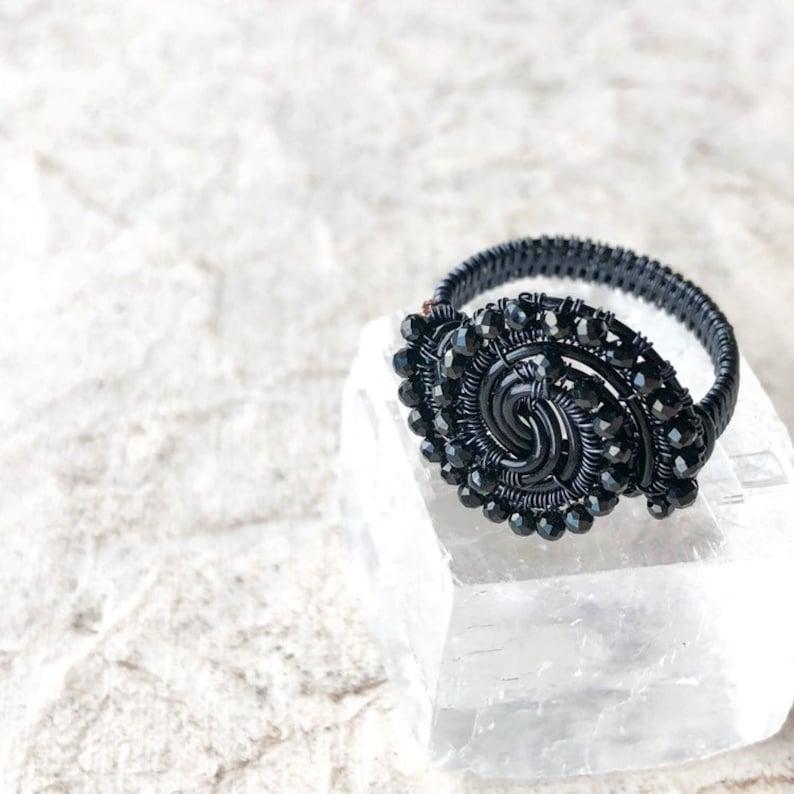 Custom  Black Spinel Gothic Ring Gemstone Statement Jewellery Evil Eye Alternative