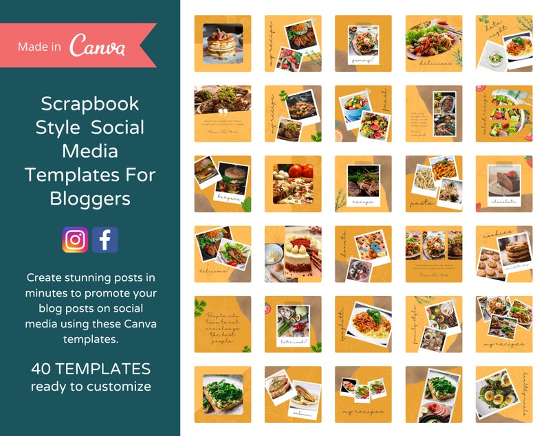 40 Editable Scrapbook Style Instagram Posts for Bloggers  image 0