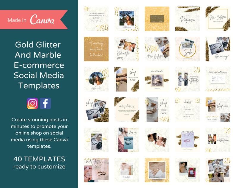 40 Editable Glitter & Marble Instagram Posts for E-commerce  image 0