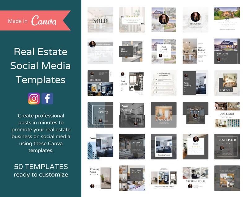 50 Editable Instagram Posts for Realtors  Real Estate Agent image 0