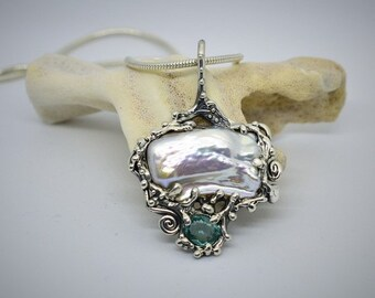 White baroque pearl with apatite stone, sterling silver pendent,nautical jewellery