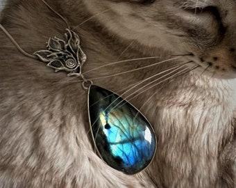Labradorite pendant, sterling silver, spiral foliage bail, beautiful blue labradorite.