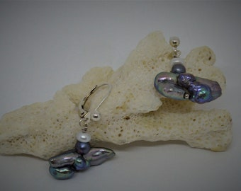 Gray baroque pearl earring, organic shape, seaweed jewelry, french hook sterling silver.