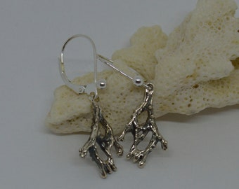 Silver coral earring, sterling silver, organic earring, nature jewelry.