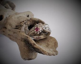 Ruby Ring in Sterling Silver, Leaf and Flower Ring
