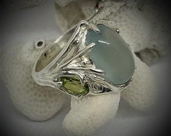 Aquamarine Ring, Sterling Silver, Mermaid Aquatic Ring, Wedding Ring, Foliage, Spiral.