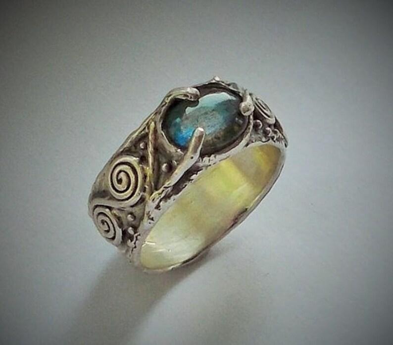 1228902da1 Celtic Men's Labradorite Ring in Sterling Silver | Etsy