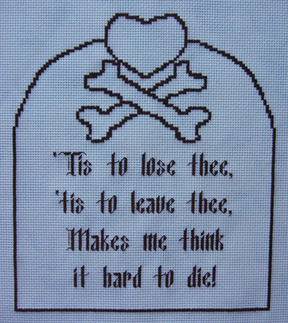 Gothic Cross Stitch Pattern The Monk Quote Matthew Lewis Instant Download  Gothic Novel Love Tombstone
