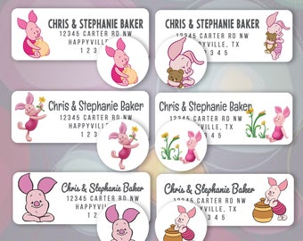 60 Winnie the Pooh Themed Address Return Mailing Labels Cheap Package B