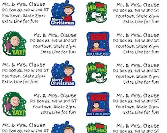 Digital Download: Snoopy Charlie Brown Christmas Holiday Return Address Mailing Labels Avery Compatible