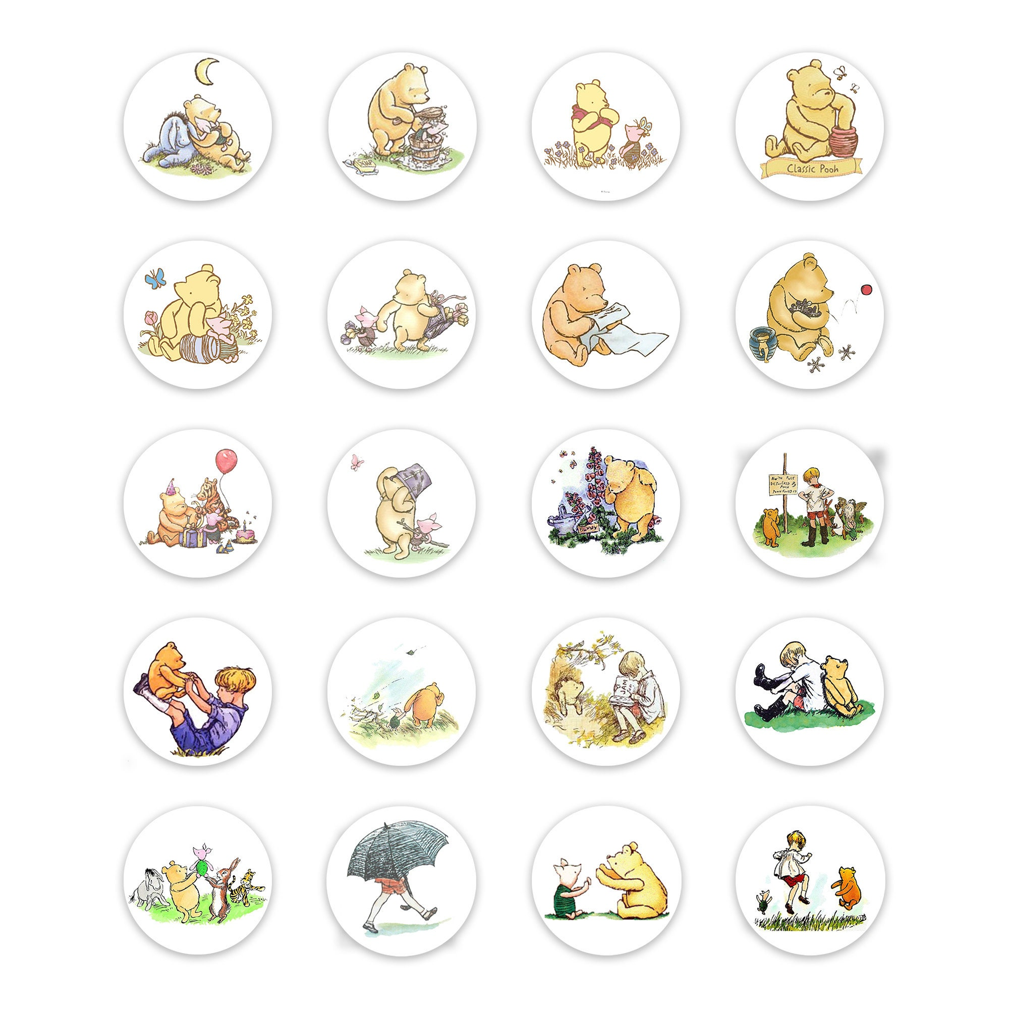 65 Mixed Winnie The Pooh Small Sticky White Paper Stickers Labels NEW