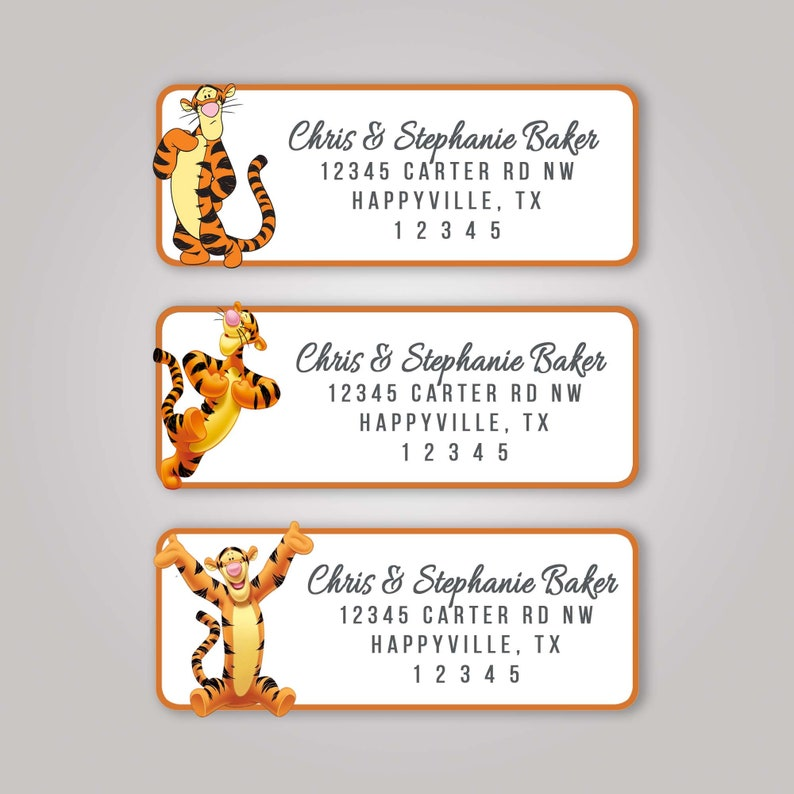 60 Winnie The Pooh Tigger Return Address Labels Mailing Envelopes Package A