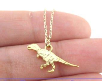 Textured Velociraptor Dinosaur Silhouette Shaped Pendant Necklace in Gold | Handmade Animal Jewelry