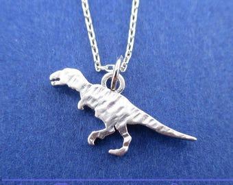 Textured Velociraptor Dinosaur Silhouette Shaped Pendant Necklace in Silver | Handmade Animal Jewelry