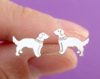 f98258d81 Golden Retriever Dog with Rhinestone Collar Shaped Allergy Free Stud  Earrings in Siliver   Handmade Animal Jewelry