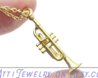Musical Themed Miniature Trumpet Pendant Necklace in Gold  | Minimalistic Handmade Jewelry