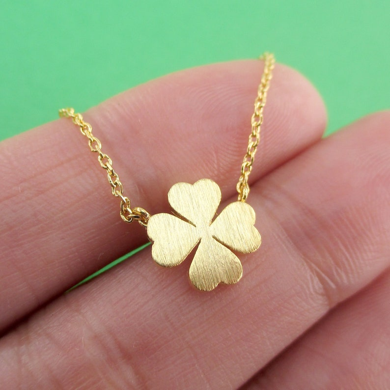 Minimal Handmade Jewelry Lucky Four Leaf Clover Shaped Floral Pendant Necklace in Silver Gold or Rose Gold