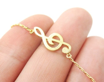 Musical Themed Treble Clef Pendant Necklace in Gold | Minimalistic Handmade Jewelry