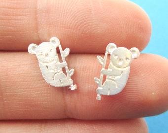Small Koala Bear and Branch Animal Shaped Stud Earrings in Silver | Handmade Animal Jewelry