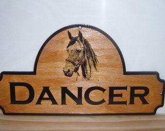 Personalized wood Horse Stall Name Sign.BIRCH.Laser ENGRAVED.GIFT.
