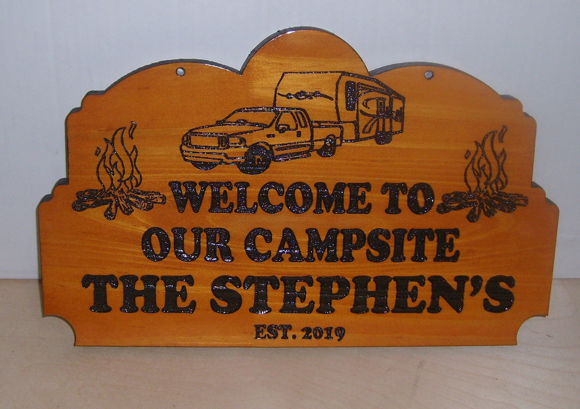 Personalized  Any text Wood Sign Camp Camper RV Laser engraved.Gift.