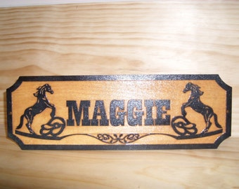 Personalized,CUSTOM Wooden Horse Stall Name Sign.Birch.Laser ENGRAVED.GIFT.