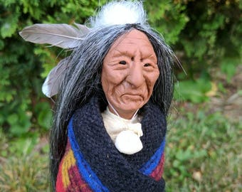 Native American Indian Sculptured Clay and Wood Doll