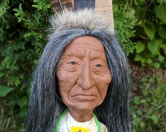Native American Indian Sculptured Clay and Wood Wall Art