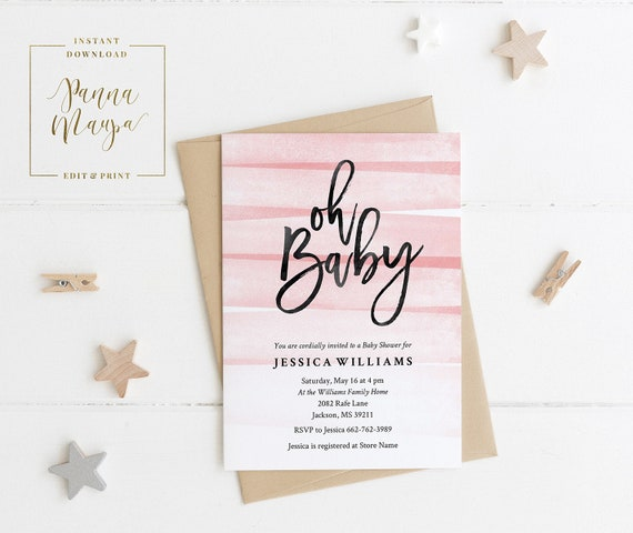 Printable Baby Shower Invitation Template Girl Baby Shower Etsy