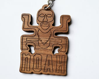 Koh Lanta wooden totem key ring with personalized first name