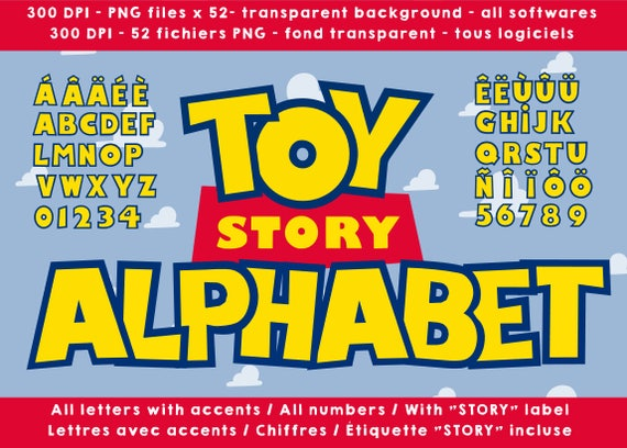 Toy Story alphabet, letters numbers 300 dpi png cliparts images