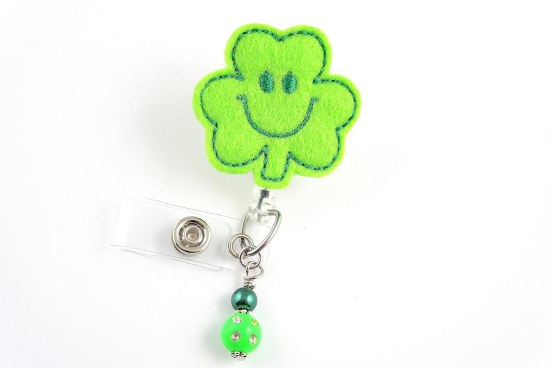 Patricks Day Clover Retractable ID Badge Holder-Name Badge Holder-Nurse Badge-Badge Clip-Badge Reels-Pediatric-RN-Nursing Badge Holder St