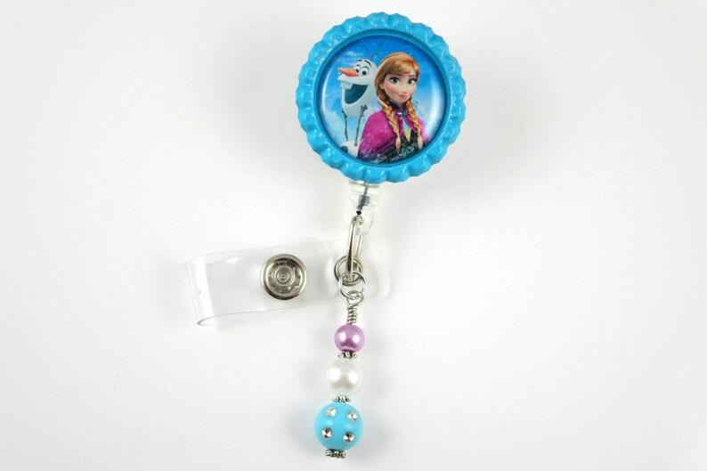 FROZEN Anna Olaf blue- Retractable ID Badge Holder-Name Badge Holder-Nurses  Badge-Badge Clip-Badge Reels-Pediatric-RN-Nursing Badge Holder