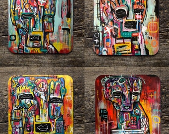 Set of 4 StreetArt Graffiti Illustrated Coasters