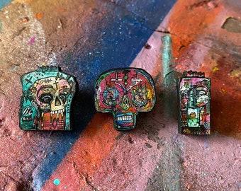 Street Art Graffiti Printed Cherry wood Pins (set of three)